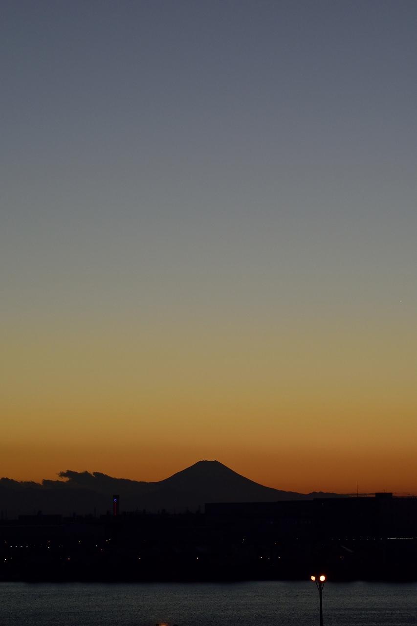 イオンレイクタウン屋上からの夕暮れの富士山