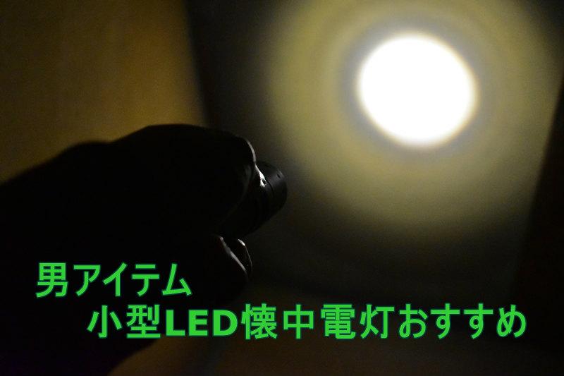LED懐中電灯で正面を照らす