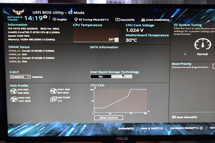 PC組み立て BIOS UEFI確認