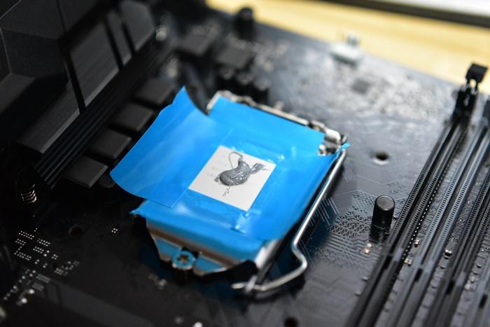 CPUに綺麗にグリスを塗るための方法でマスキングする